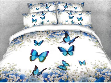Blue Butterflies and Floral Digital Printing Cotton 3D 4-Piece Bedding Sets/Duvet Covers