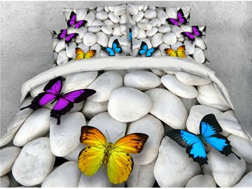 3D Cobblestone and Butterflies Digital Printing Cotton 4-Piece Bedding Sets/Duvet Covers