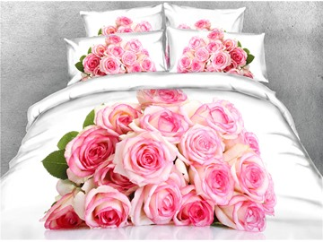 3D A Bouquet of Blush Pink Flowers Digital Printing Cotton 4-Piece Bedding Sets/Duvet Covers
