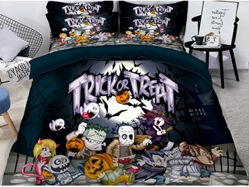 3D Halloween Trick or Treat Printing Polyester 4-Piece Bedding Sets/Duvet Covers