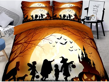 3D Pumpkin and Witch Celebrate Halloween Printing Polyester 4-Piece Bedding Sets/Duvet Covers