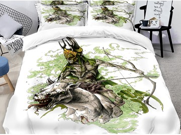 3D Monster and Skeleton Halloween Symbol Printing Polyester 4-Piece Bedding Sets/Duvet Covers