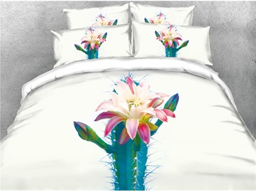 3D Cactus Flower Digital Printing Cotton 4-Piece Bedding Sets/Duvet Covers