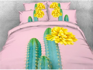 3D Cactus and Yellow Flower Digital Printing Cotton 4-Piece Bedding Sets/Duvet Covers