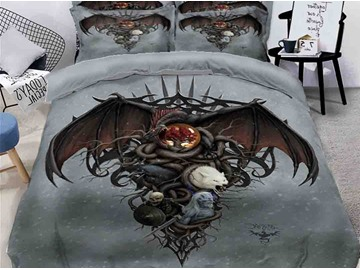 Halloween Ghost and Werewolf Printing Polyester 4-Piece 3D Bedding Sets/Duvet Covers
