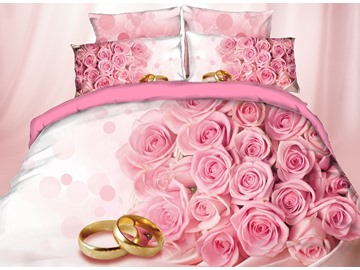 A Bunch of Pink Flowers and Ring Digital Printing 4-Piece 3D Bedding Sets/Duvet Covers