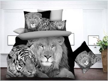 Tiger and Lion Digital Printing Polyester 3D 4-Piece Bedding Sets/Duvet Covers