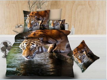 Tiger is Drinking Water Printing Polyester 4-Piece 3D Bedding Sets/Duvet Covers