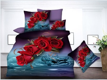 Red Roses & Water Printing Polyester 4-Piece 3D Bedding Sets/Duvet Covers