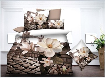 Flower and Tower Bridge Printing Polyester 3D 4-Piece Bedding Sets/Duvet Covers