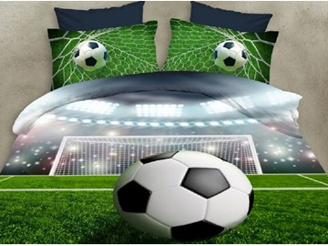 Soccer and Stadium Digital Printing Polyester 3D 4-Piece Bedding Sets/Duvet Covers