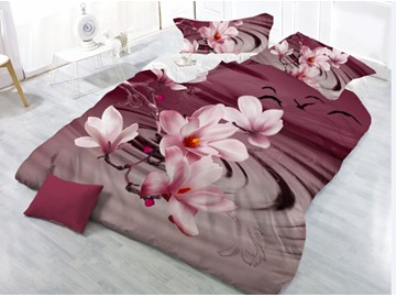 Pink Flower Printing Polyester 4-Piece 3D Bedding Sets /Duvet Cover