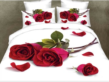 Red Rose Digital Printing White Polyester 4-Piece 3D Bedding Sets /Duvet Cover