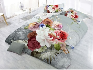 Multi Color Flower and Green Leaves Printing Polyester 4-Piece 3D Bedding Sets/ Duvet Cover