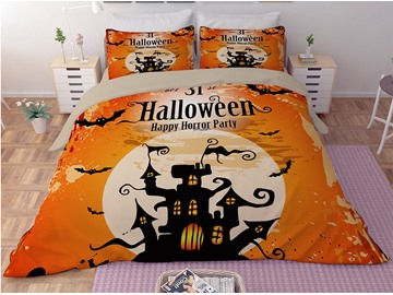 Halloween Castle and Bats Orange Printing 3D 3-Piece Bedding Sets/Duvet Covers
