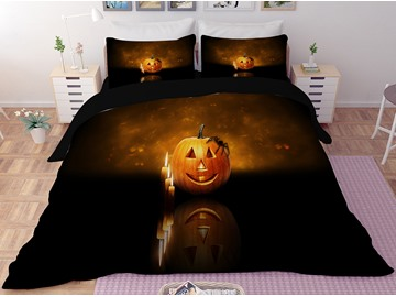 Jack-o-lanterns and Candle Printing Halloween 3-Piece 3D Bedding Sets/Duvet Covers