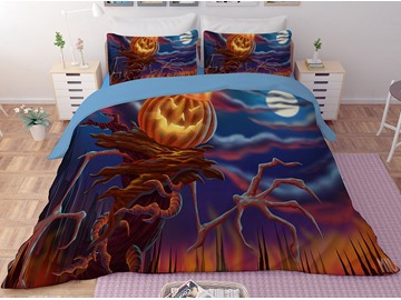 Evil Pumpkin Face Halloween 3-Piece 3D Bedding Sets/Duvet Covers