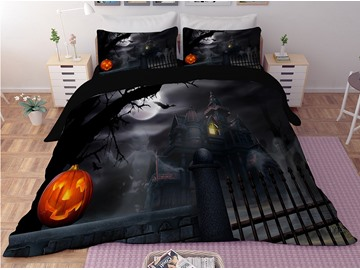 Pumpkin Lantern and Castle Halloween Black 3-Piece 3D Bedding Sets/Duvet Covers