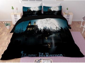 Halloween Pumpkin Lantern and Castle Dark Printing 3-Piece 3D Bedding Sets/Duvet Covers