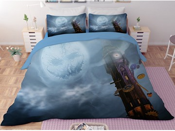 Grey Pumpkin Smiley Face and Clock Tower Halloween 3-Piece 3D Bedding Sets/Duvet Covers