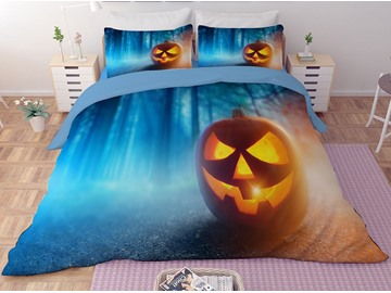 Pumpkin Lantern Smiley Face Blue Printing Halloween 3D 3-Piece Bedding Sets/Duvet Covers