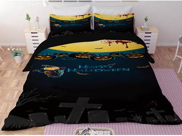 Pumpkin Lantern and Headstones Printing Halloween 3-Piece 3D Bedding Sets/Duvet Covers