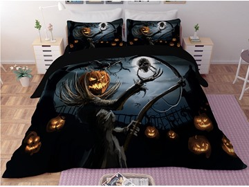 Pumpkin Head Skeleton Digital Printing 3D Polyester 4-Piece Bedding Sets/Duvet Covers