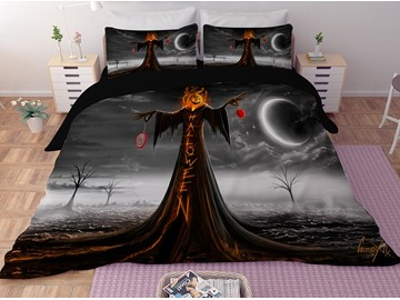 Pumpkin Head Skeleton Printing 3D Polyester 4-Piece Bedding Sets/Duvet Covers