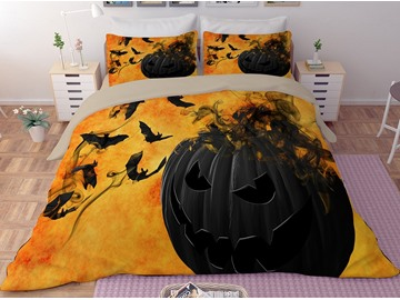 Black Pumpkin and Bats Printing 3D Polyester 4-Piece Bedding Sets/Duvet Covers