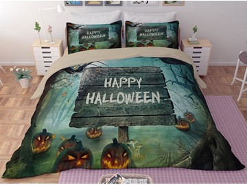 Pumpkin Lantern and Forest Green Printing 3D Polyester 4-Piece Bedding Sets/Duvet Covers