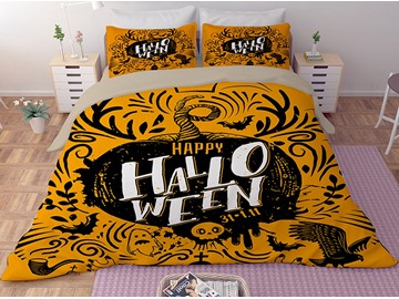 Pumpkin and Symbols of Halloween Printing 3-Piece 3D Bedding Sets/Duvet Covers
