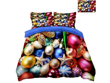 Colorful Christmas Ornaments Printing Polyester 3D 4-Piece Bedding Sets/Duvet Covers