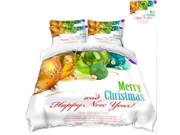 Merry Christmas and Ornaments Printing Polyester 3D 4-Piece Bedding Sets/Duvet Covers