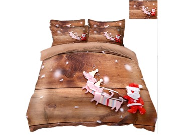 Reindeer Pull Santa's Sleigh Printing Polyester 3D 4-Piece Bedding Sets/Duvet Covers