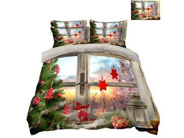 Christmas Tree and Windows Printing Polyester 3D 4-Piece Bedding Sets/Duvet Covers