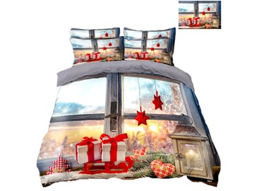 Christmas Presents and Stars Printing Polyester 4-Piece 3D Bedding Sets/Duvet Covers