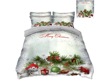 Snowman and Christmas Decorations White Printing 4-Piece 3D Bedding Sets/Duvet Covers