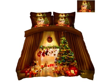Christmas Tree and Ornaments Printing 4-Piece 3D Bedding Sets/Duvet Covers