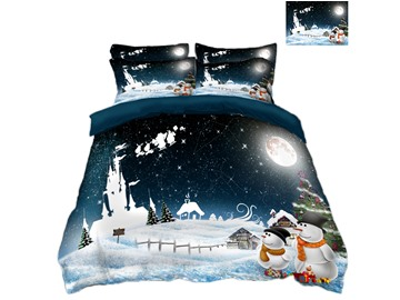 Snowman and Ice Printing Polyester 4-Piece 3D Christmas Bedding Sets/Duvet Covers