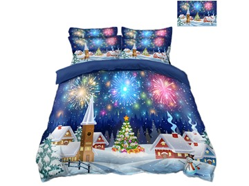 Christmas Tree and Colorful Fireworks Printing Polyester 4-Piece 3D Bedding Sets/Duvet Covers