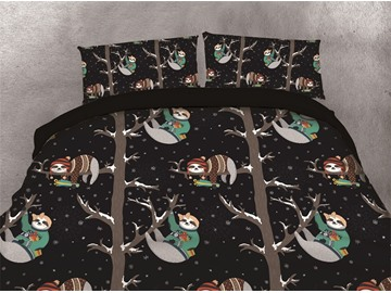 Cartoon Sloths Climbing the Tree Printing Cotton 4-Piece 3D Bedding Sets/Duvet Covers
