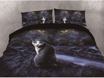 Night Cat and Cat's Eye on the Sky Printing Cotton 4-Piece 3D Bedding Sets/Duvet Covers