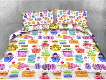 Colorful Cake and Ice Cream Printing Cotton 3D 4-Piece Bedding Sets/Duvet Covers