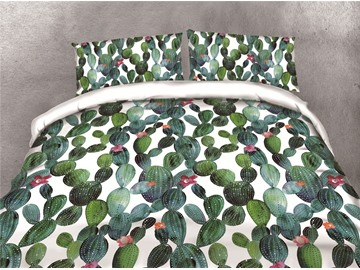 Dense Cactus Printing Cotton 4-Piece 3D Bedding Sets/Duvet Covers