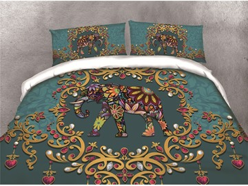 Elephant and Flower Printing Cotton 4-Piece 3D Bedding Sets/Duvet Covers