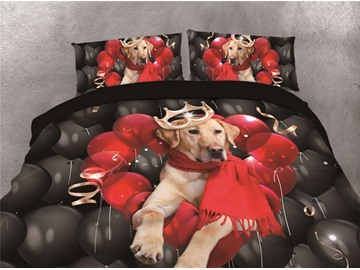 Red Heart-shaped Balloons and Dog Printing Cotton 4-Piece 3D Bedding Sets/Duvet Covers