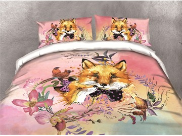 Loving Foxes and Flower Watercolor Printing Cotton 3D 4-Piece Bedding Sets/Duvet Covers
