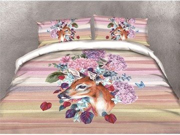 Deer and Flower Watercolor Printing Cotton 4-Piece 3D Bedding Sets/Duvet Covers