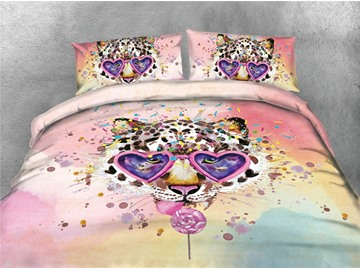 Leopard Wearing Pink Sunglasses Printing 4-Piece 3D Bedding Sets/Duvet Covers