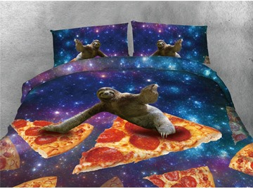 Sloth and Pizza Galaxy Printing 4-Piece Cotton 3D Bedding Sets/Duvet Covers